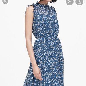 Banana Republic blue floral ruffled dress. NWT